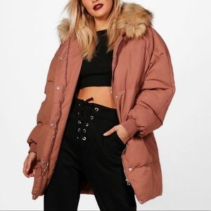 Boohoo Mocha Padded Coat With Faux Fur Trim